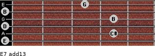 E-7(add13) for guitar on frets 0, 4, 0, 4, 0, 3
