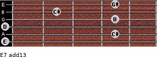 E7(add13) for guitar on frets 0, 4, 0, 4, 2, 4