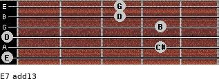 E-7(add13) for guitar on frets 0, 4, 0, 4, 3, 3