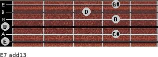 E7(add13) for guitar on frets 0, 4, 0, 4, 3, 4