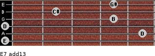 E7(add13) for guitar on frets 0, 5, 0, 4, 2, 4