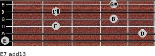 E7(add13) for guitar on frets 0, 5, 2, 4, 2, 4