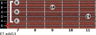 E7(add13) for guitar on frets x, 7, 11, 7, 9, 7