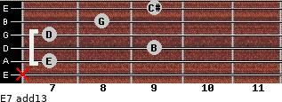 E-7(add13) for guitar on frets x, 7, 9, 7, 8, 9