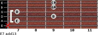 E7(add13) for guitar on frets x, 7, 9, 7, 9, 9