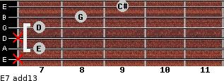 E-7(add13) for guitar on frets x, 7, x, 7, 8, 9