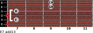 E7(add13) for guitar on frets x, 7, x, 7, 9, 9
