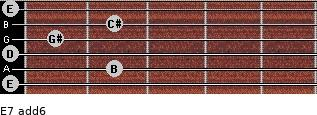 E7(add6) for guitar on frets 0, 2, 0, 1, 2, 0