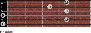 E7(add6) for guitar on frets 0, 4, 0, 4, 3, 4
