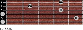 E7(add6) for guitar on frets 0, 5, 0, 4, 2, 4