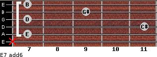 E7(add6) for guitar on frets x, 7, 11, 7, 9, 7