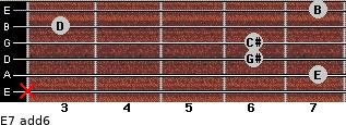E7(add6) for guitar on frets x, 7, 6, 6, 3, 7