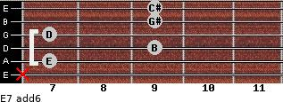 E7(add6) for guitar on frets x, 7, 9, 7, 9, 9