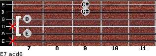 E7(add6) for guitar on frets x, 7, x, 7, 9, 9