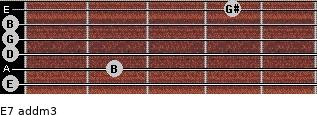E7 add(m3) for guitar on frets 0, 2, 0, 0, 0, 4
