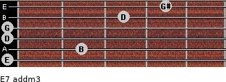 E7 add(m3) for guitar on frets 0, 2, 0, 0, 3, 4