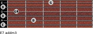 E7 add(m3) for guitar on frets 0, 2, 0, 1, 0, 3