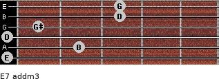 E7 add(m3) for guitar on frets 0, 2, 0, 1, 3, 3