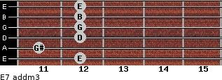 E7 add(m3) for guitar on frets 12, 11, 12, 12, 12, 12