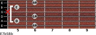 E7b5/Bb for guitar on frets 6, 5, 6, x, 5, 6