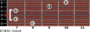 E7#5/C for guitar on frets 8, 7, x, 7, 9, 10
