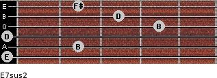 E7sus2 for guitar on frets 0, 2, 0, 4, 3, 2