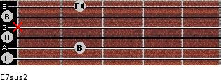 E7sus2 for guitar on frets 0, 2, 0, x, 0, 2