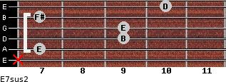 E7sus2 for guitar on frets x, 7, 9, 9, 7, 10