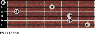E9/11/13b5/A for guitar on frets 5, 4, 4, 1, 3, 0