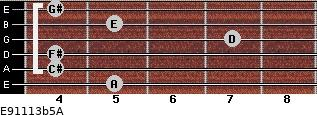 E9/11/13b5/A for guitar on frets 5, 4, 4, 7, 5, 4