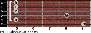 E9/11/13b5sus/C# add(#5) for guitar on frets 9, 5, 8, 5, 5, 5