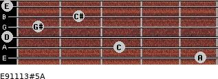 E9/11/13#5/A for guitar on frets 5, 3, 0, 1, 2, 0