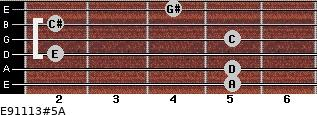 E9/11/13#5/A for guitar on frets 5, 5, 2, 5, 2, 4