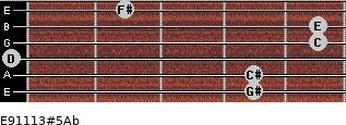 E9/11/13#5/Ab for guitar on frets 4, 4, 0, 5, 5, 2
