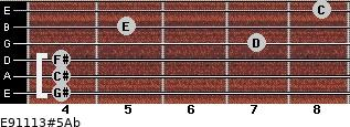 E9/11/13#5/Ab for guitar on frets 4, 4, 4, 7, 5, 8