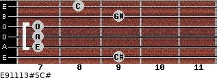 E9/11/13#5/C# for guitar on frets 9, 7, 7, 7, 9, 8