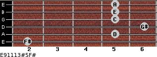 E9/11/13#5/F# for guitar on frets 2, 5, 6, 5, 5, 5