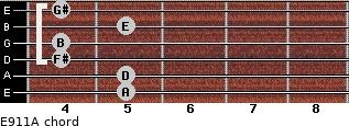 E9/11/A for guitar on frets 5, 5, 4, 4, 5, 4