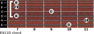 E9/11/D for guitar on frets 10, 11, 7, 9, 7, 7
