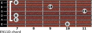 E9/11/D for guitar on frets 10, 7, 7, 11, 9, 7