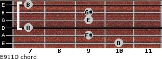 E9/11/D for guitar on frets 10, 9, 7, 9, 9, 7