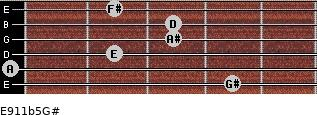 E9/11b5/G# for guitar on frets 4, 0, 2, 3, 3, 2