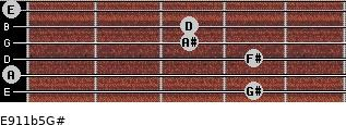 E9/11b5/G# for guitar on frets 4, 0, 4, 3, 3, 0