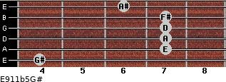 E9/11b5/G# for guitar on frets 4, 7, 7, 7, 7, 6