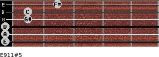 E9/11#5 for guitar on frets 0, 0, 0, 1, 1, 2