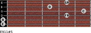 E9/11#5 for guitar on frets 0, 0, 4, 5, 3, 4