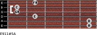 E9/11#5/A for guitar on frets 5, 5, 2, 1, 1, 2