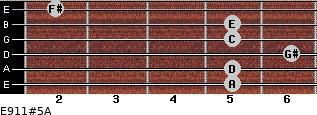 E9/11#5/A for guitar on frets 5, 5, 6, 5, 5, 2