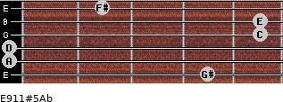 E9/11#5/Ab for guitar on frets 4, 0, 0, 5, 5, 2