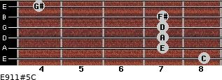 E9/11#5/C for guitar on frets 8, 7, 7, 7, 7, 4